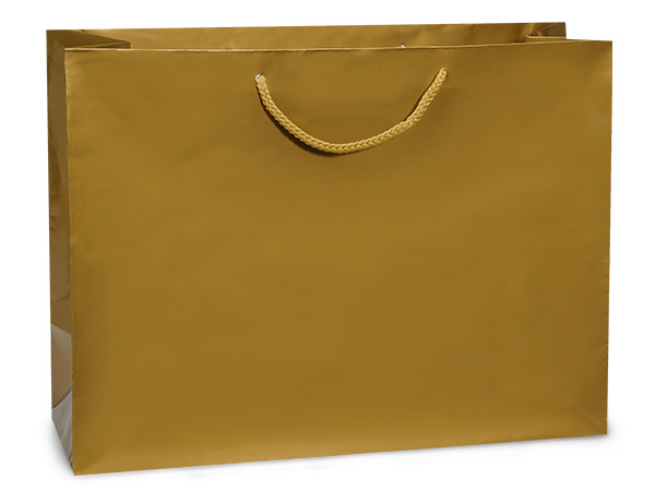 "Gold Gloss Gift Bags, Vogue 16x6x12"", 10 Pack"