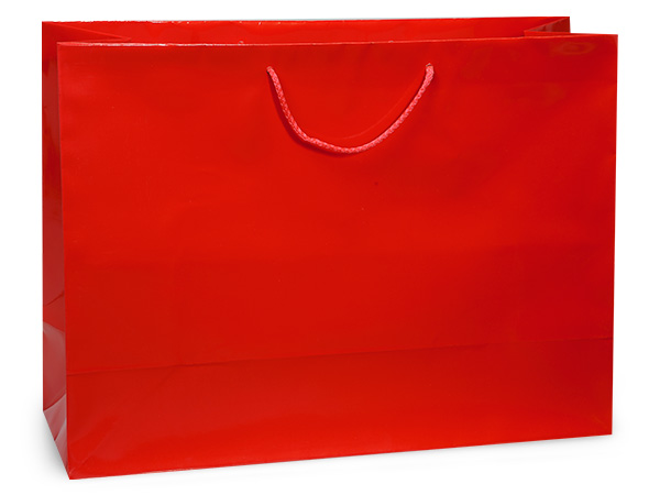 "Red Gloss Gift Bags, Vogue 16x6x12"", 10 Pack"