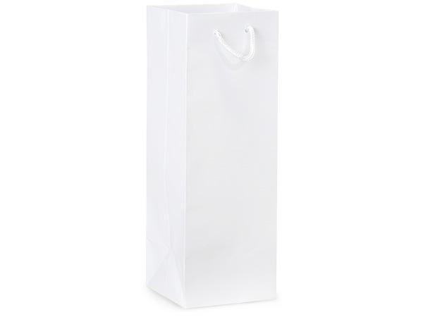 "White Gloss Gift Bags, Wine 4.5x4.5x13"", 100 Pack"