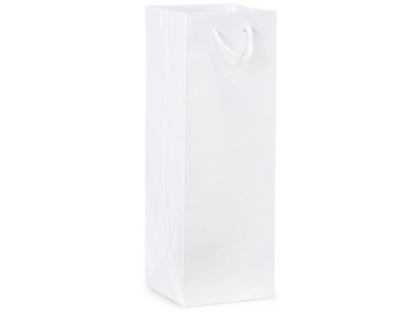 "White Gloss Gift Bags, Wine 4.5x4.5x13"", 10 Pack"