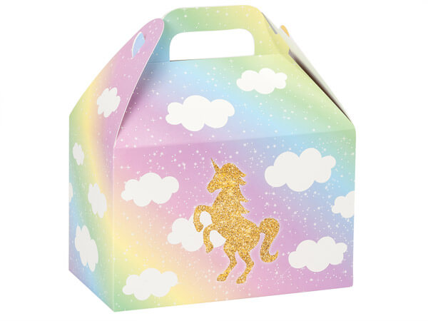 Glitter Unicorn Gable Boxes 8.5x4.75x5.5""