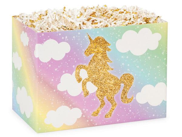 "Glitter Unicorn Basket Boxes, Large 10.25x6x7.5"", 6 Pack"