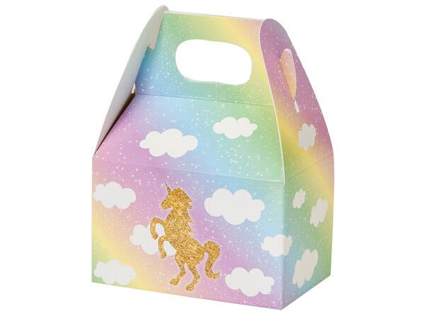 """Glitter Unicorn Mini Gable Boxes, 4x2.5x2.5"""", 6 Pack"""