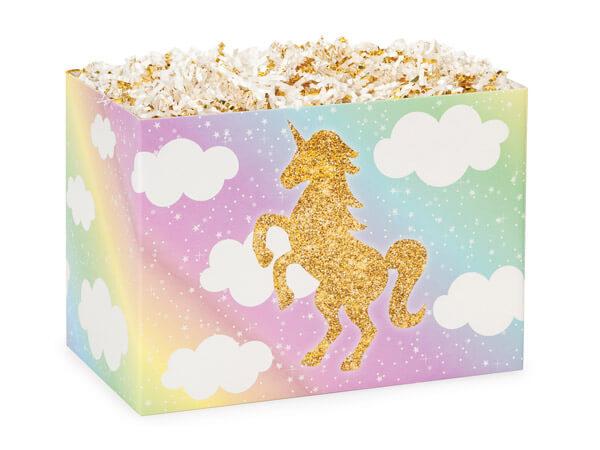 """Glitter Unicorn Basket Boxes, Small 6.75x4x5"""", 6 Pack"""