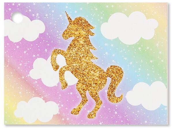 "Glitter Unicorn Theme Gift Cards 3-3/4x2-3/4"""
