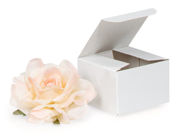 "Recycled White 1 Piece Gift Boxes, 3x3x2"", 100 Pack"