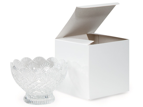 "Recycled White 1 Piece Gift Boxes, 6x6x6"", 5 Pack"