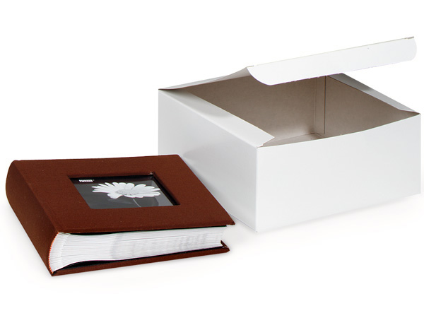 "Recycled White 1 Piece Gift Boxes, 8x8x4"", 5 Pack"
