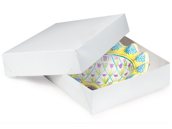"""Recycled White 2 Piece Gift Boxes, 6.5x6.5x1.5"""", 100 Pack"""