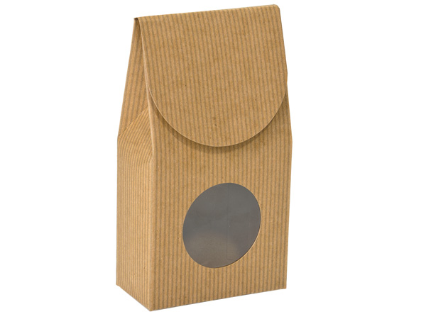"Kraft Pinstripe Gourmet Window Box, Large 4x2.5x8.5"", 6 Pack"