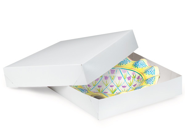 "Recycled White 2 Piece Gift Boxes, 8.5x8.5x2"", 100 Pack"