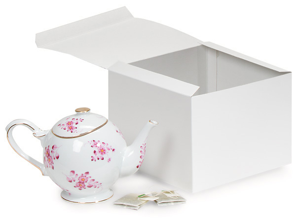 """Recycled White 1 Piece Gift Boxes, 8x8x6"""", 5 Pack"""