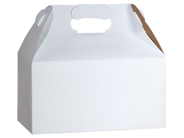 "White Recycled Gable Boxes, 9-1/2x5x5"", Pack 100"