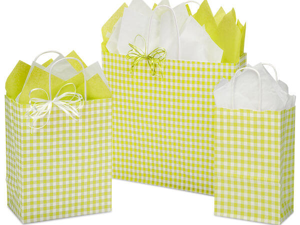 Apple Gingham Paper Shopping Bags