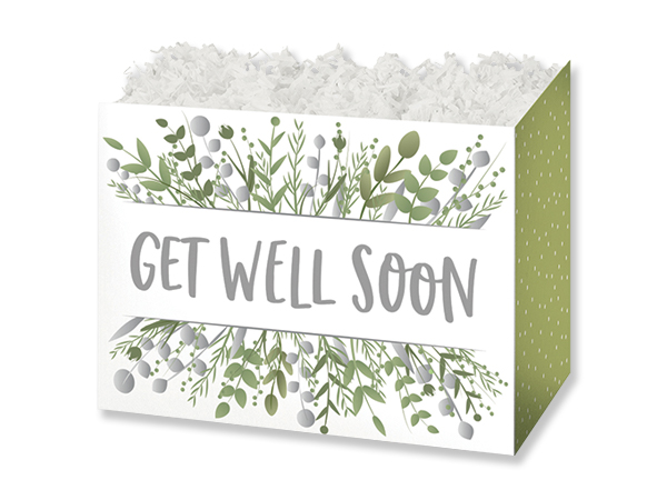 "Get Well Greenery Basket Boxes, Small 6.75x4x5"", 6 Pack"
