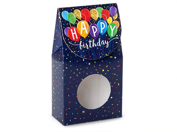 "Happy Birthday Balloons Window Box, Small 3.5x1.75x6.5"", 6 Pack"