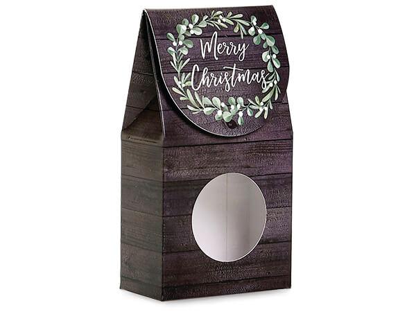 "Merry Christmas Wreath Window Box, Small 3.5x1.75x6.5"", 6 Pack"