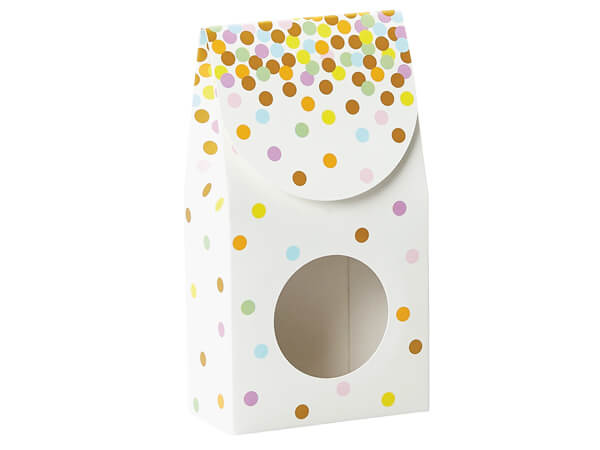 "Pastel Confetti Window Boxes, Small 3.5x1.75x6.5"", 6 Pack"