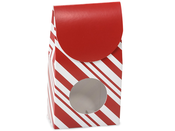"Peppermint Stripe Gourmet Window Boxes, Small 3.5x1.75x6.5"", 6 Pack"