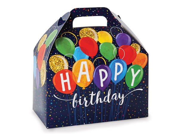 "Happy Birthday Balloons Gable Boxes 8.5x5x5.5"", Pack 6"