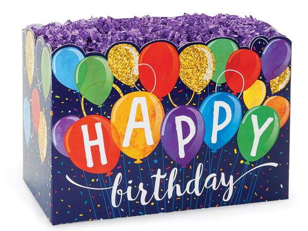 "Happy Birthday Balloons Basket Boxes, Large 10.25x6x7.5"", 6 Pack"
