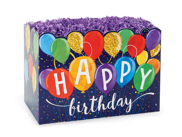"Happy Birthday Balloons Basket Boxes, Small 6.75x4x5"", 6 Pack"