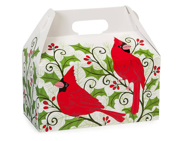 Holly Berry Cardinal Gable Boxes 9-1/2 x 5 x 5""