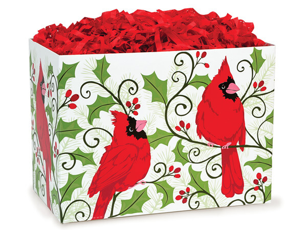 """Large Holly Berry Cardinal Basket Boxes 10-1/4x6x7-1/2"""""""