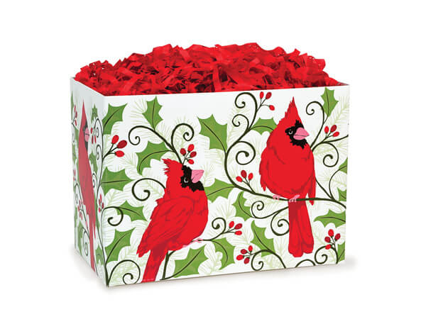 Small Holly Berry Cardinal Basket Boxes 6-3/4x4x5""