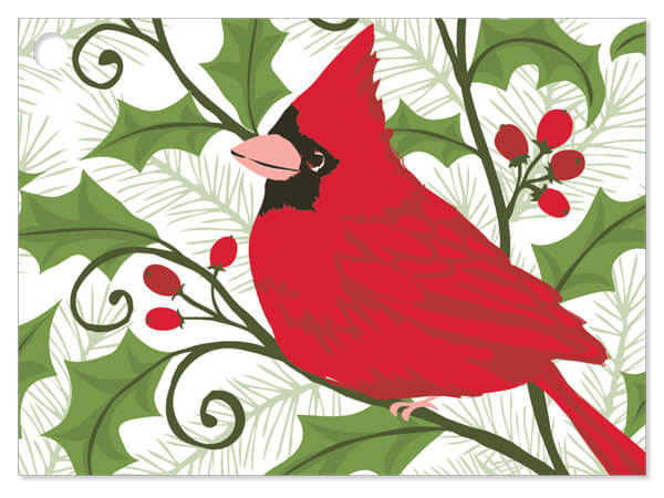 Holly Berry Cardinal Gift Cards 3.75x2.75, 6 Pack