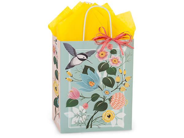 "Hummingbird Floral Paper Shopping Bags, Cub 8.25x4.75x10.5"", 250 Pack"