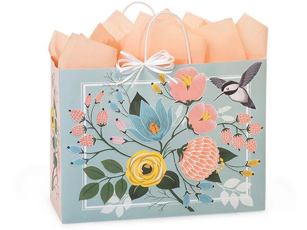 "Hummingbird Floral Paper Shopping Bags, Vogue 16x6x12.5"", 200 Pack"