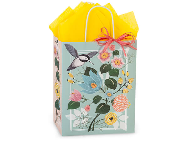"Hummingbird Floral Paper Shopping Bags, Cub 8.25x4.75x10.5"", 25 Pack"