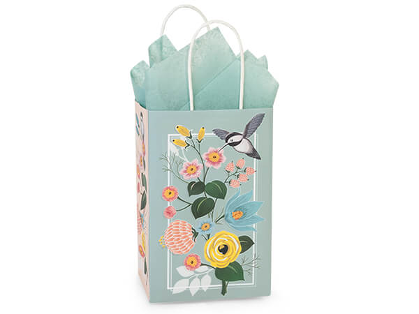 "Hummingbird Floral Paper Shopping Bags, Rose 5.25x3.5x8.25"", 25 Pack"