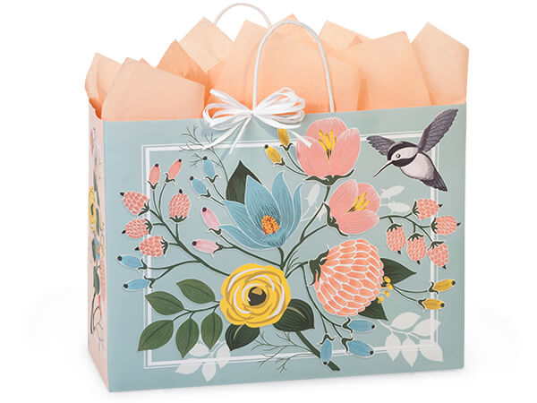 "Hummingbird Floral Paper Shopping Bags, Vogue 16x6x12.5"", 25 Pack"