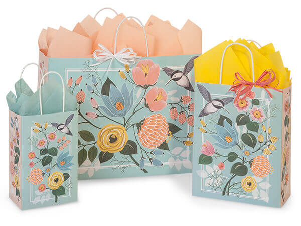 Hummingbird Floral Paper Shopping Bags, Small 25 Pack Assortment