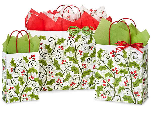Holly Berry Greenery Paper Shopping Bags, Assortment 125 Pack