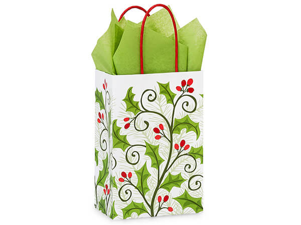 Rose Holly Berry Greenery 250 Paper Bags 5-1/2x3-1/4x8-3/8""