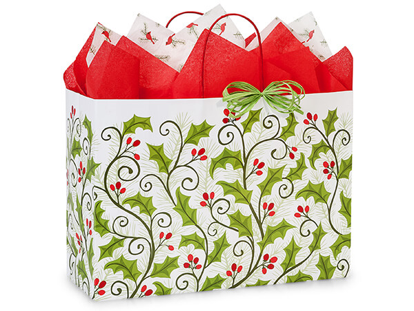 Vogue Holly Berry Greenery 25 Paper Bags 16x6x12""