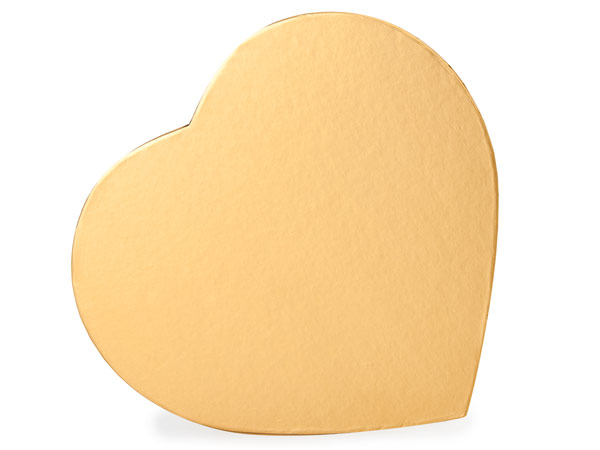 """Metallic Gold Heart Boxes, Large 9.25x8x1.25"""", 3 Pack"""
