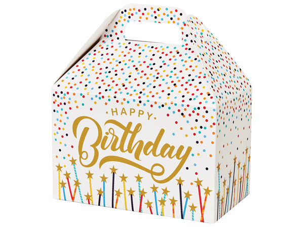 "Happy Birthday Stars Gable Boxes 8.5x5x5.5"", Pack 6"