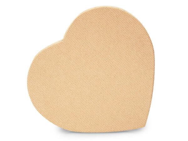 "Kraft Pinstripe Heart Boxes, Small 6.75x6x1.25"", 3 Pack"