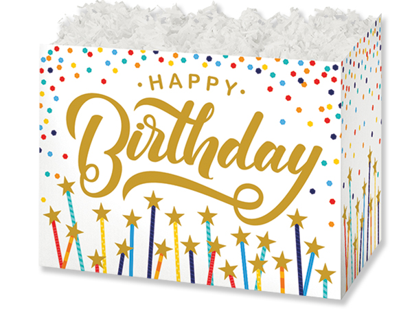 "Happy Birthday Stars Basket Boxes, Large 10.25x6x7.5"", 6 Pack"