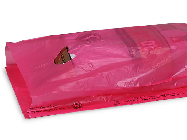 "Cerise Hi-D Bags 12x3x18"" Recycled Plastic w/ Handles .70 mil"
