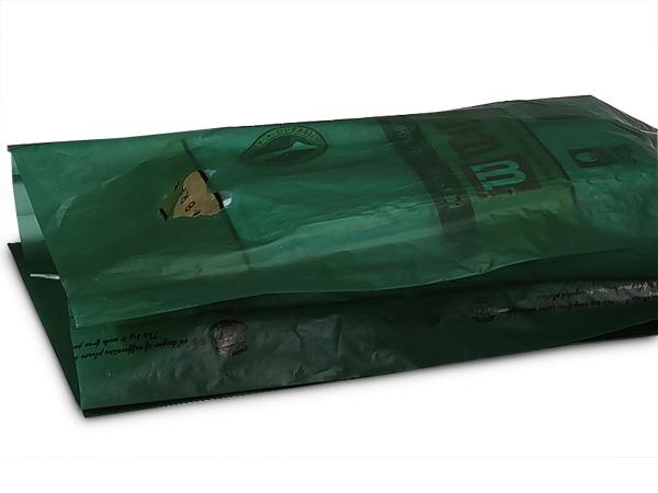 "Dark Green Hi-D Bags 12x3x18"" Recycled Plastic w/ Handles .70 mil"