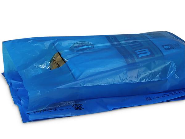 "Medium Blue Hi-D Bags 12x3x18"" Recycled Plastic w/ Handles .70 mil"