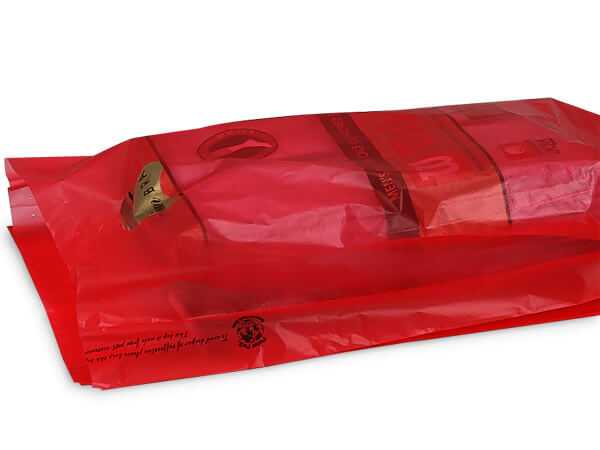 """Red Hi-D Bags 12x3x18"""" Recycled Plastic w/ Handles .70 mil"""