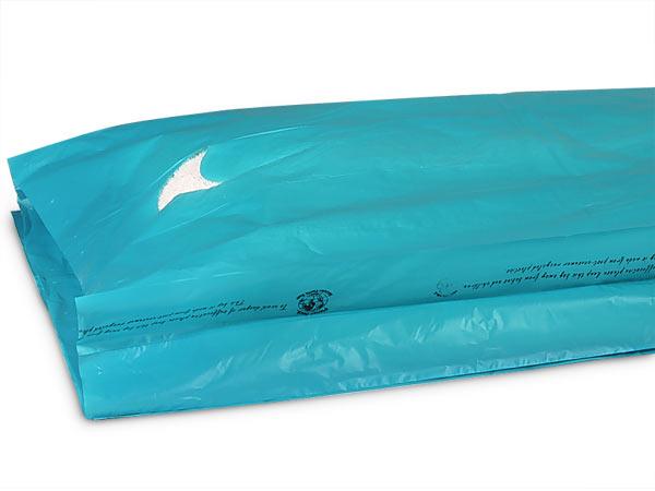 "Teal Hi-D Bags 13x3x21"" Recycled Plastic w/ Handles .70 mil"