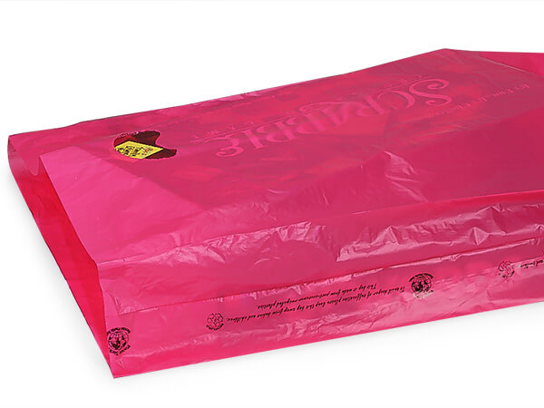 "Cerise Hi-D Bags 16x4x24"" Recycled Plastic w/ Handles .75 mil"