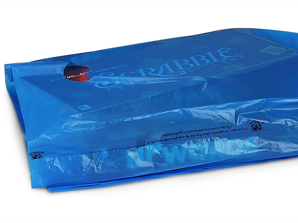 "Medium Blue Hi-D Bags 16x4x24"" Recycled Plastic w/ Handles .75 mil"
